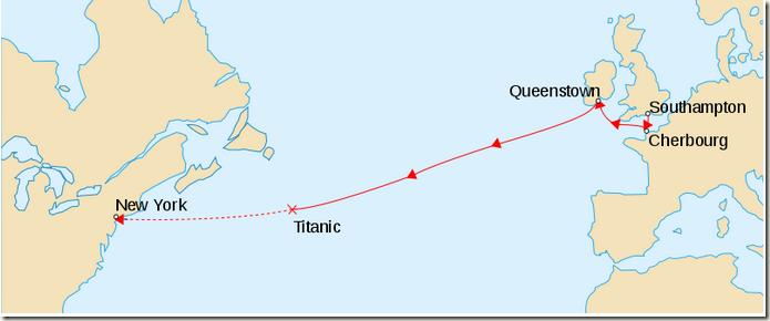 泰坦尼克号航线路线